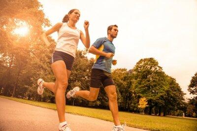 Papiers peints Jogging ensemble - le sport jeune couple