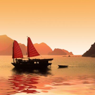 Papiers peints Jonque Dans La Baie d'Halong - Vietnam