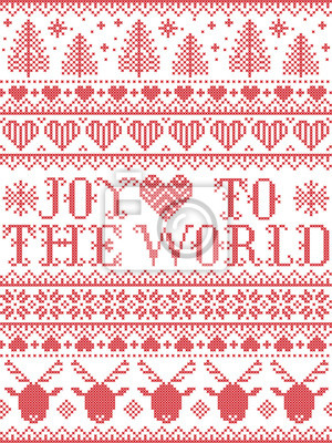 Joy to the World Christmas pattern with Scandinavian Nordic festive winter pastern in cross stitch with heart, snowflake,  Christmas tree, reindeer, forest, star, in white,red,