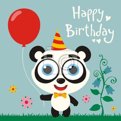 Joyeux Anniversaire Drole Panda Ours Rouges Balloon Carte Papier Peint Papiers Peints Panda Ballon Porter Myloview Fr