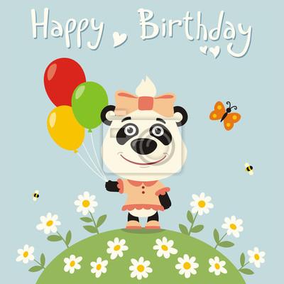 Papiers Peints Joyeux Anniversaire Panda Petite Fille Avec Des Ballons Carte
