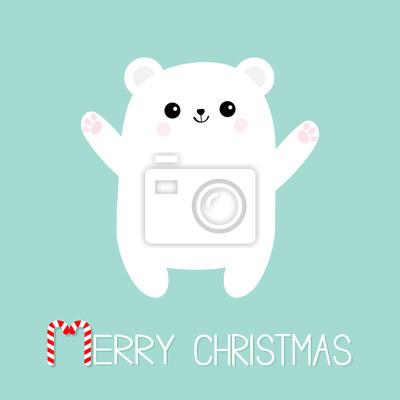 Joyeux Noel Candy Cane Texte Ours Blanc Polaire Atteindre Un