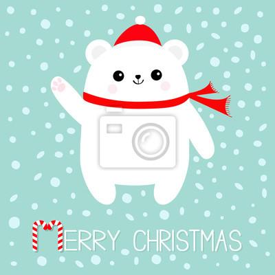 Joyeux Noel Candy Cane Texte Ours Blanc Polaire Chapeau Rouge