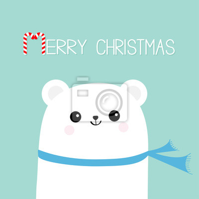 Joyeux Noel Candy Cane Visage De Tete Dours Blanc Polaire Portant