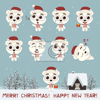 Joyeux Noel Et Bonne Annee Placez Lours Polaire Drole Dans Papier