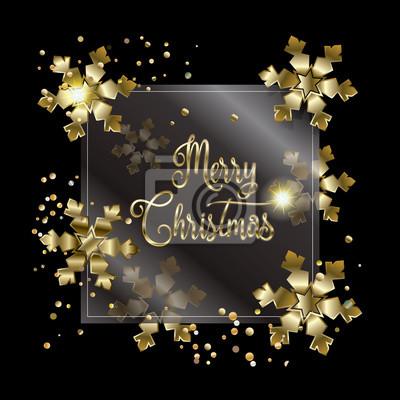 Joyeux Noel Et Nouvel An.Papiers Peints Joyeux Noel Et Nouvel An Cadre Dore Avec Des Confettis En Or