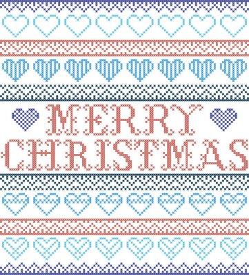 Joyeux Noël, style nordique et inspiré du point de croix scandinave, motif de Noël sans couture en rouge et blanc, incluant divers éléments de coeurs et ornements décoratifs en rouge, bleu