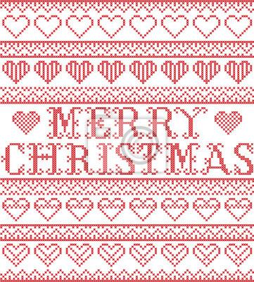 Joyeux Noël, style nordique et inspiré par l'art de point de croix scandinave, motif de Noël sans faille en rouge et blanc, y compris divers éléments de coeurs et ornements décoratifs