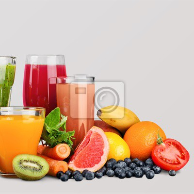 Jus et fruits sains et mûrs