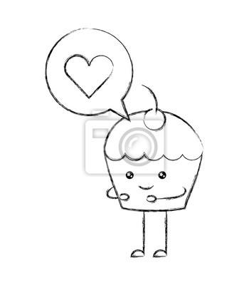 Kawaii Cupcake Love Bubble Dessin Anime Vector Illustration Papier