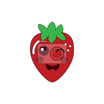 Kawaii Fraise Fruit Dessin Anime Caractere Vector Illustration