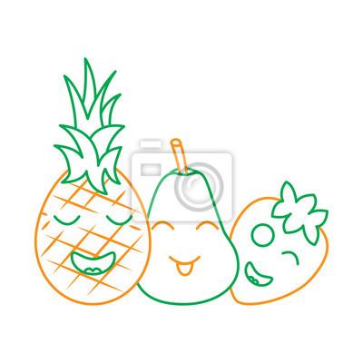 Papiers Peints Kawaii Fruits Dessin Animé Ananas Poire Et Fraise Vector Illustration