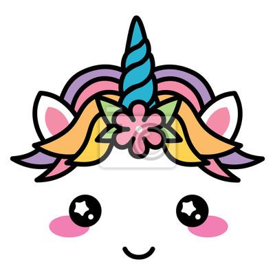 Kawaii Mignon Licorne Visage Arc En Ciel Couleur Pastel Avec Papier