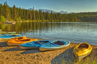 Papiers peints Kayaks, pyramide, lac, jasper, national, parc, alberta, canada
