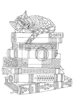 Kitty Dort Sur Une Pile De Livres Image Dessinée à La Main Papier