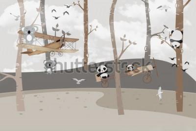 Papiers peints Koalas et pandas mignons jouant dans la jungle