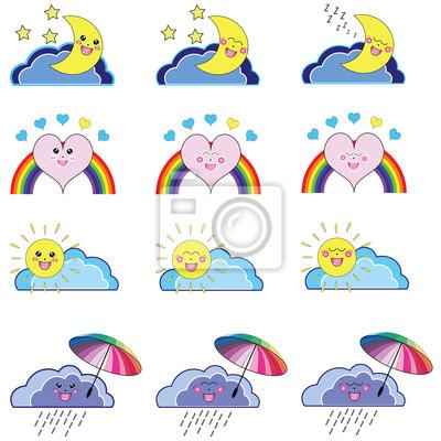 Kwaii set of weather icons