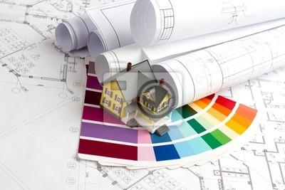 L'espace de travail de l'architecte avec les plans