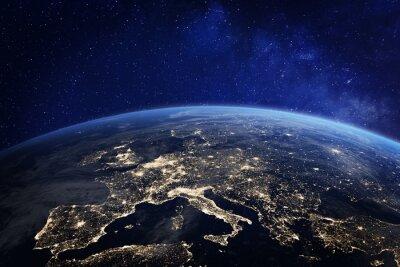 Papiers peints L'Europe la nuit depuis l'espace, les lumières de la ville, les éléments de la NASA