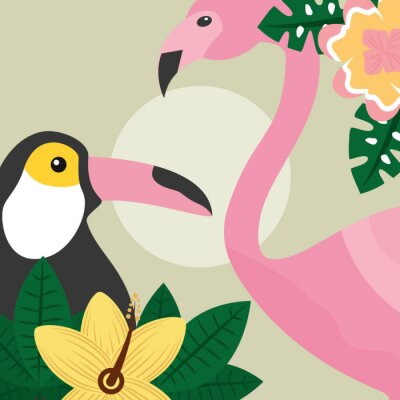 Papiers peints l'heure d'été oiseaux tropicaux toucan et flamingo vector illustration