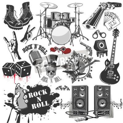Papiers peints L'image vectorielle d'ensemble de symboles vectoriels liés au rock and roll