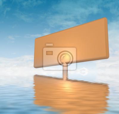 l'orange panneau de publicité coincé dans l'eau de mer