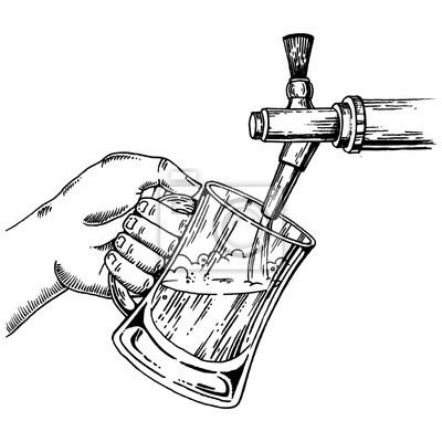 La bière verse du verre au vecteur de gravure du robinet de bière
