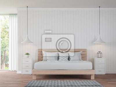 La chambre blanche moderne vintage style 3d image de rendu. il ...