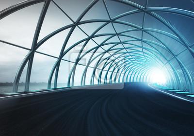 la construction de la voûte d'acier long de la piste de vitesse en mouvement