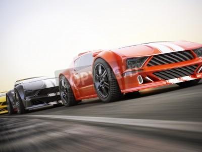 Papiers peints La course, exotiques voitures de sport de course avec le flou de mouvement. Générique personnalisé photo réaliste rendu 3d.