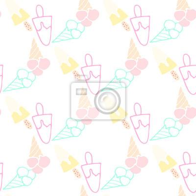 La crème glacée de motif d'été transparente