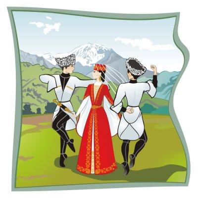 Papiers peints La danse Lezginka, Danses du du Caucase du Nord. Deux hommes et une femme qui danse sur l'herbe lezginka ossète. Dans les montagnes en arrière-plan, illustration vectorielle