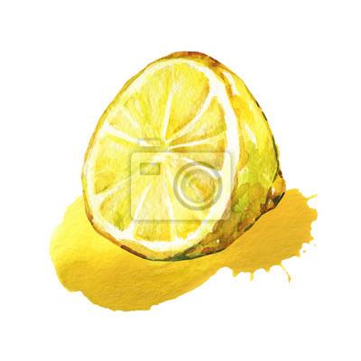 La moitié du citron. Aquarelle illustration isolé sur fond blanc