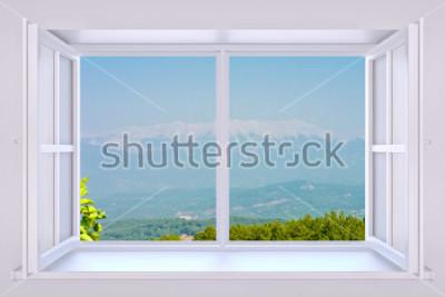 Papiers peints La nature derrière une fenêtre rendu 3d avec photo insérée