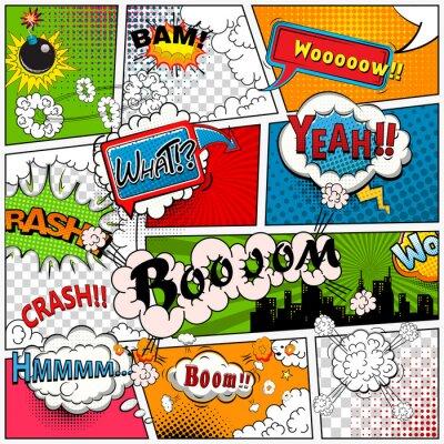 Papiers peints La page de bande dessinée divisée par des lignes avec des bulles de la parole, l'effet de sons. Rétro maquette de fond. Modèle de bande dessinée.