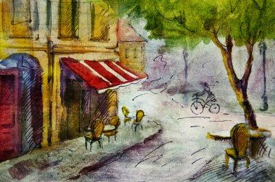 Papiers peints La peinture en plein air café européen français, dessin graphique en couleurs
