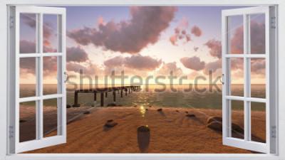 Papiers peints La plage, la vue depuis la fenêtre.