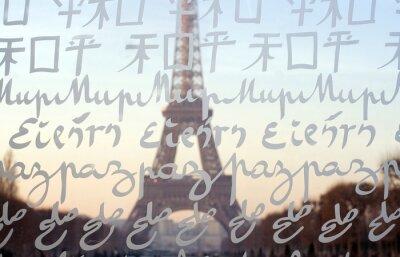 Papiers peints La Tour Eiffel vu à travers le mur pour la paix