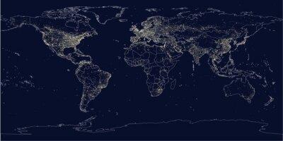 Papiers peints La ville de la terre illumine la carte politique