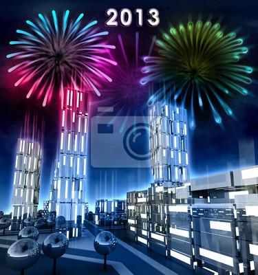 La ville moderne avec des fenêtres descendu de célébrer la nouvelle année 2013