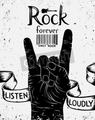 Papiers peints Label vintage avec du rock pour toujours. Rock, rouleau, main, signe