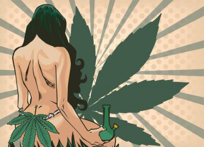 Papiers peints Lady with cannabis leaf. The marijuana leafs on the background. Naked woman, vector image