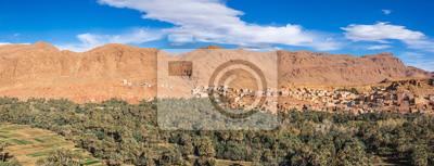 Large Panorama De Loasis De Tinghir Dans La Vallée De Todra Papier