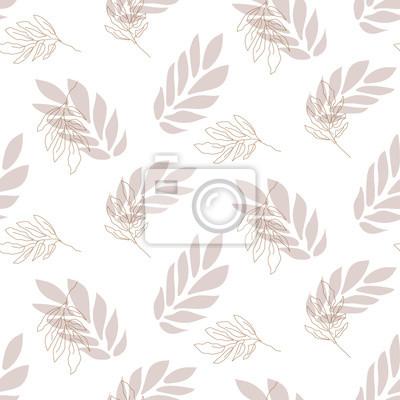 Lavender leaf seamless vector pattern background on white.