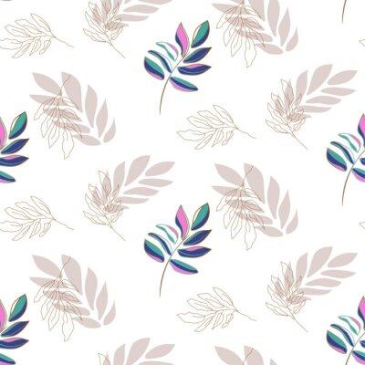 Lavender plant leaf seamless vector pattern background on white.