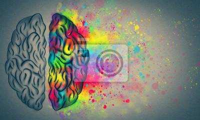 Papiers peints Le cerveau créatif, concept de cerveau humain gauche et droit