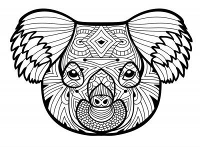 Le Chef Du Koala Totem Pour Colorier Pour Adultes Dessin A Papier Peint Papiers Peints Boheme Coloration Koala Myloview Fr