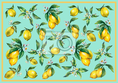 Le fond des branches de citrons frais d'agrumes avec des feuilles vertes et des fleurs. Peinture tirée par la main d'aquarelle sur le fond de turquoise.