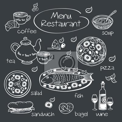 Dessin A La Craie le menu du restaurant. dessin à la craie sur un tableau noir. papier