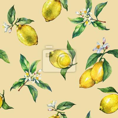 Le modèle sans couture des branches de citrons frais d'agrumes avec des feuilles et des fleurs vertes. Main dessinée aquarelle sur fond jaune.